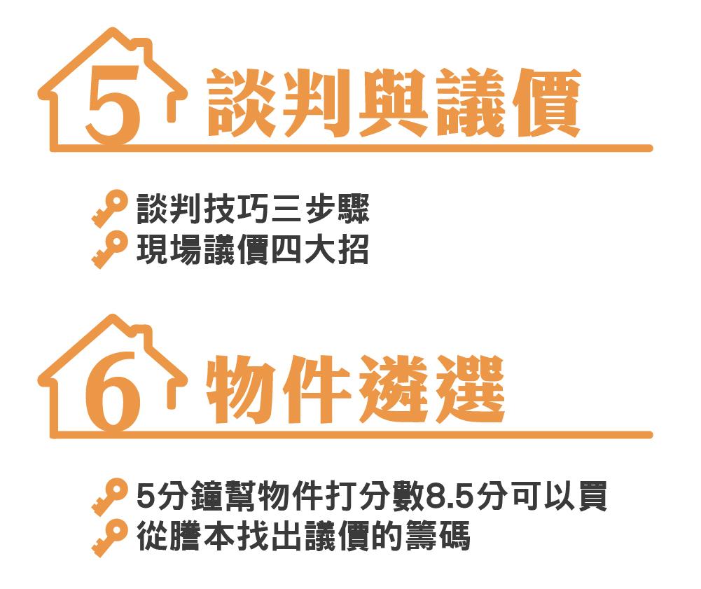 房產投資思維課程內容 5.談判與議價 6.物件遴選